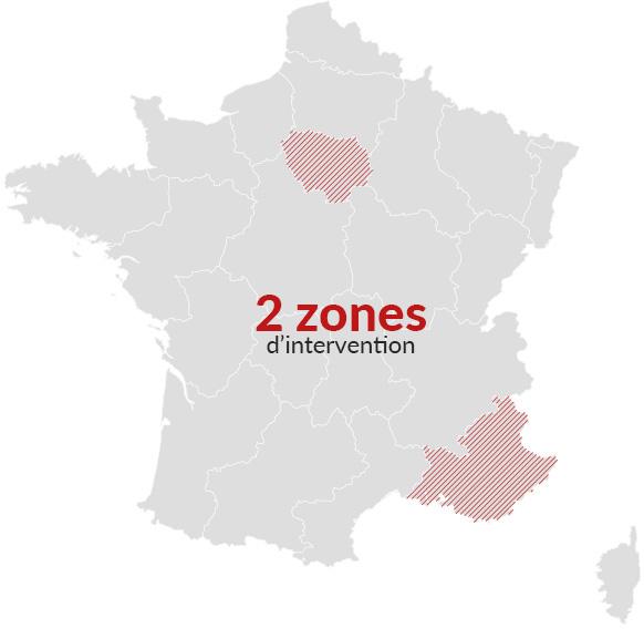 2 zones d'intervention